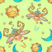 A fun seamless pattern for kids. Zodiac sign Taurus. Vector.