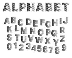 Strip lettertype sjabloon alfabet