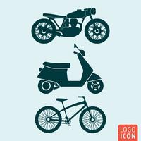 Icono de bicicleta moto scooter aislado