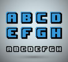 Alfabeto de fuente de pixel
