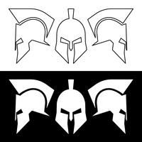 Ancient Roman or Greek helmet, silhouette line design