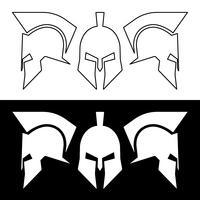 Casco romano o griego antiguo, diseño de línea de silueta.