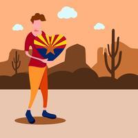 Um homem segurando um sinal de amor do arizona. Viagem do Arizona