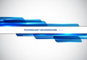 Abstract header blue shiny geometric shapes overlapping moving technology futuristic style presentation on white background with copy space.