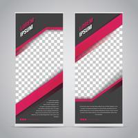 Roze zwarte Roll-up Banner sjabloon Mock Up