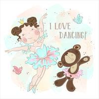 Kleines Ballerinamädchentanzen mit einem Bären. Ich liebe es zu tanzen. Inschrift. Vektor