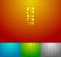 Satz abstrakter roter, blauer, grüner, grauer Hexagonmusterhintergrund. Geometrisch gestreift auf mehrfarbigen Verlaufsfarben.