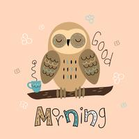 A sleepy owl in a cute style. Good morning. Lettering. Baby shower. Vector