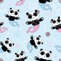 Seamless pattern. Cute Panda mermaid on blue background. Vector