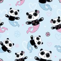 Seamless pattern. Cute Panda mermaid on blue background. Vector
