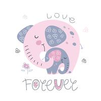 Elephant with a baby elephant in a cute style. Together forever. Inscription. Vector
