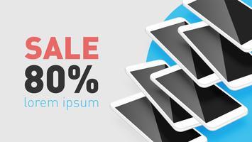 Smartphone realista con texto promocional, ilustración vectorial