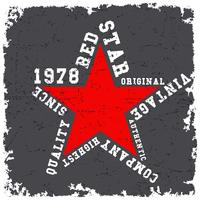 T-shirt print design. Red star vintage poster