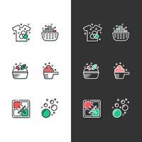ícone de lavandaria moderno conjunto