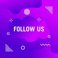 Follow us text modern design template. Purple and white colors. Colorful background