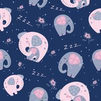 Elephant with a baby elephant in a cute style. Sweet dream. Inscription. Vector.