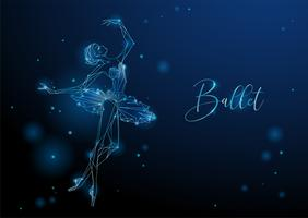 Ballerina. Glowing fantastic picture of a dancing girl. Neon graphics. Vector