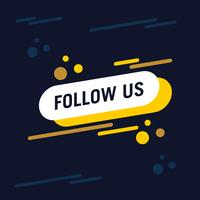 Follow us text modern design template. Blue and yellow colors. Navy background