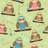 Sleeping owls on a branch. Seamless pattern for pajamas. On a green background. Vector.
