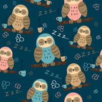Seamless pattern. Owls dream. Cute style. Pajama fabric. Vector