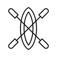 Icona nera di linea di barca