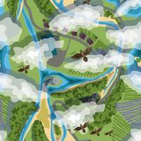 vectorillustratie naadloze achtergrond van bomen, dorp, velden, strand en vogels in bruine kleuren