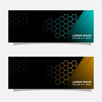 Abstract black banner modern concept design. Glossy gold and blue color