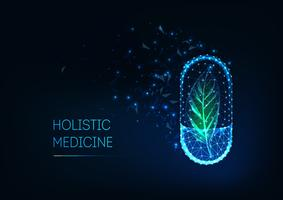 Holistisk medicinkoncept med glödande futuristisk lågpolygonal kapselpiller och grönt blad.
