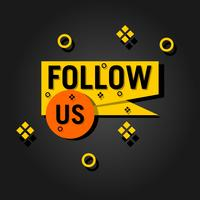 Follow us text modern design template. Black and yellow colors. Black background