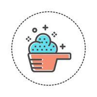 Scoop pictogram vector geïsoleerd op een witte achtergrond, wasserij logo concept