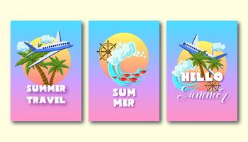 Summer holiday flyers set with palm trees, airplane, ocean waves, ship wheel, on the sunset sky.