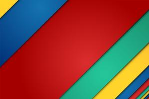 Realistic red, green, blue and yellow sheets of papers