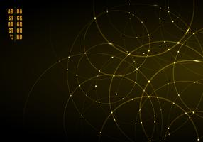 Abstract gold neon circles with light overlapping on black background.