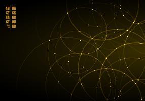 Abstrakt guld neon cirklar med ljus överlappande på svart bakgrund.
