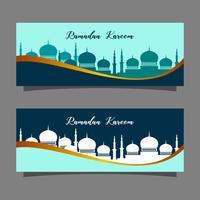 Religión musulmana de celebración. Ilustración de la bandera de Ramadan Kareem. Plantilla de tarjeta de felicitación islámica.