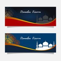 Religion muslim celebration. Ramadan kareem banner illustration. Islamic greeting card template.