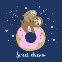 Female sloth with a baby sleeping on a sweet donut. Sweet dream. Motherhood. Inscription. Vector