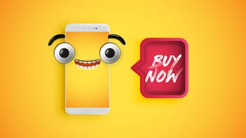 High detailed yellow emoticon on a smartphone with a red speech bubble, vector illustration