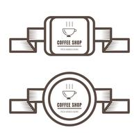 Set of vintage coffee badges and labels brown color on white background.