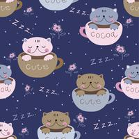 Seamless pattern. Cute kittens sleep sweetly in mugs. Pajama print for children. Vector.