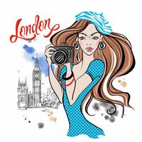 Girl tourist with a camera in London. Vector