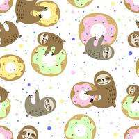 Seamless pattern. Cute sloth with sweet doughnuts. Sweet tooth. Vector