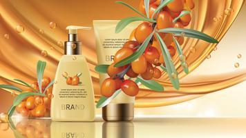 Sea buckthorn cosmetics vector realistic