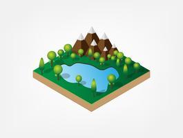 Isometrisches 3d des natürlichen Berges und des Sees im Wald. Natürliche Landschaft. Weltumwelttag. Ökologie und Ökologie