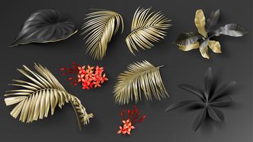 Tropiska svarta och guldblad på mörk bakgrund