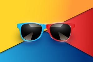 Colorful sheets of papers with realistic sunglasses, vector illustration