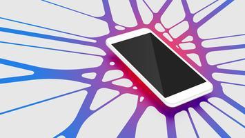 Smartphone 3D realista con fondo abstracto colorido, ilustración vectorial