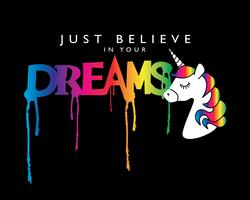 Inspirational quote with unicorn vector