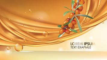 Banner pubblicitario realistico di vettore dell'olivello spinoso