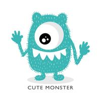Schattig monster cartoon tekening
